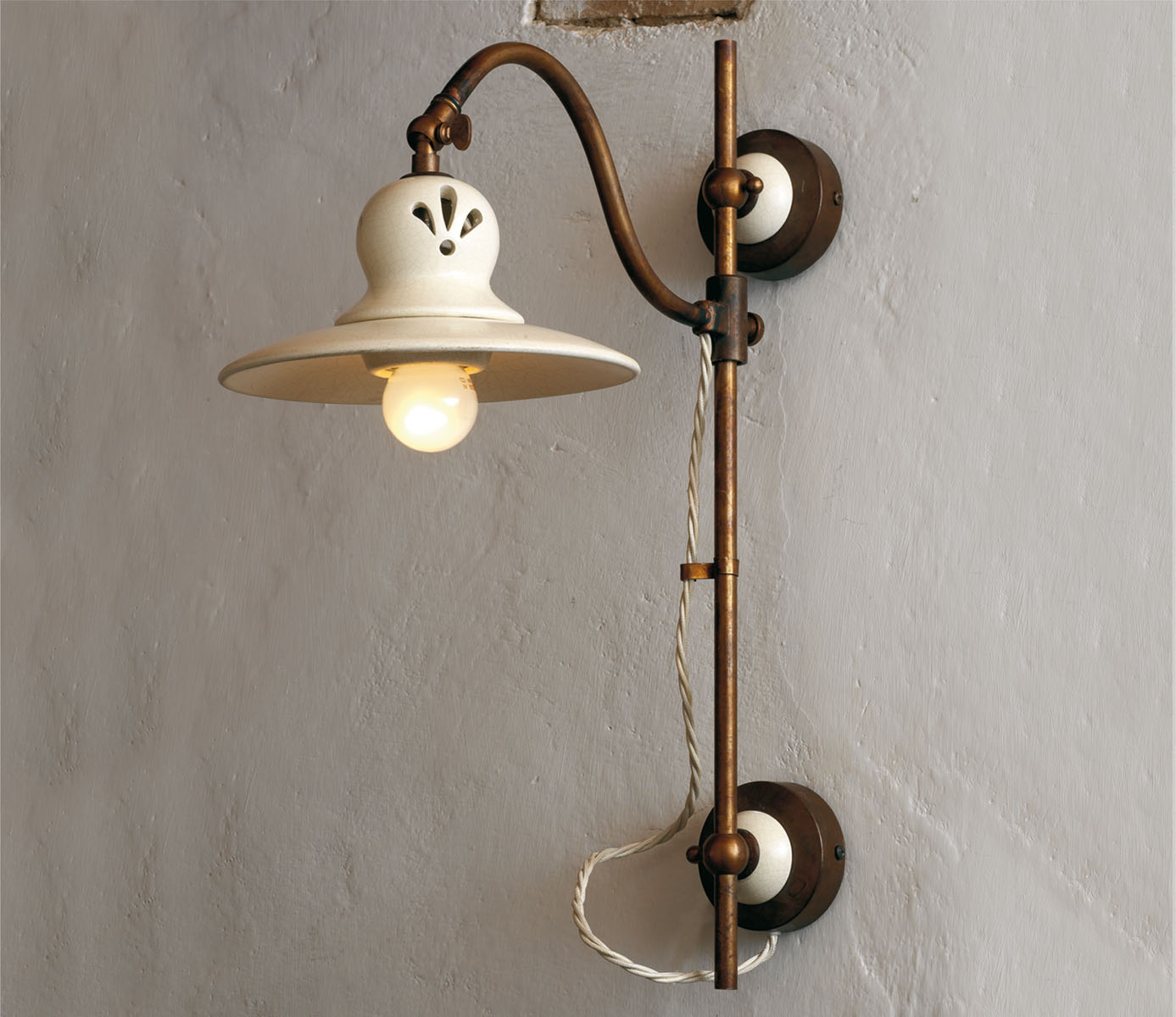 30/A30/TR Ceramic and Brass Adjustable Sconce with Open-worked