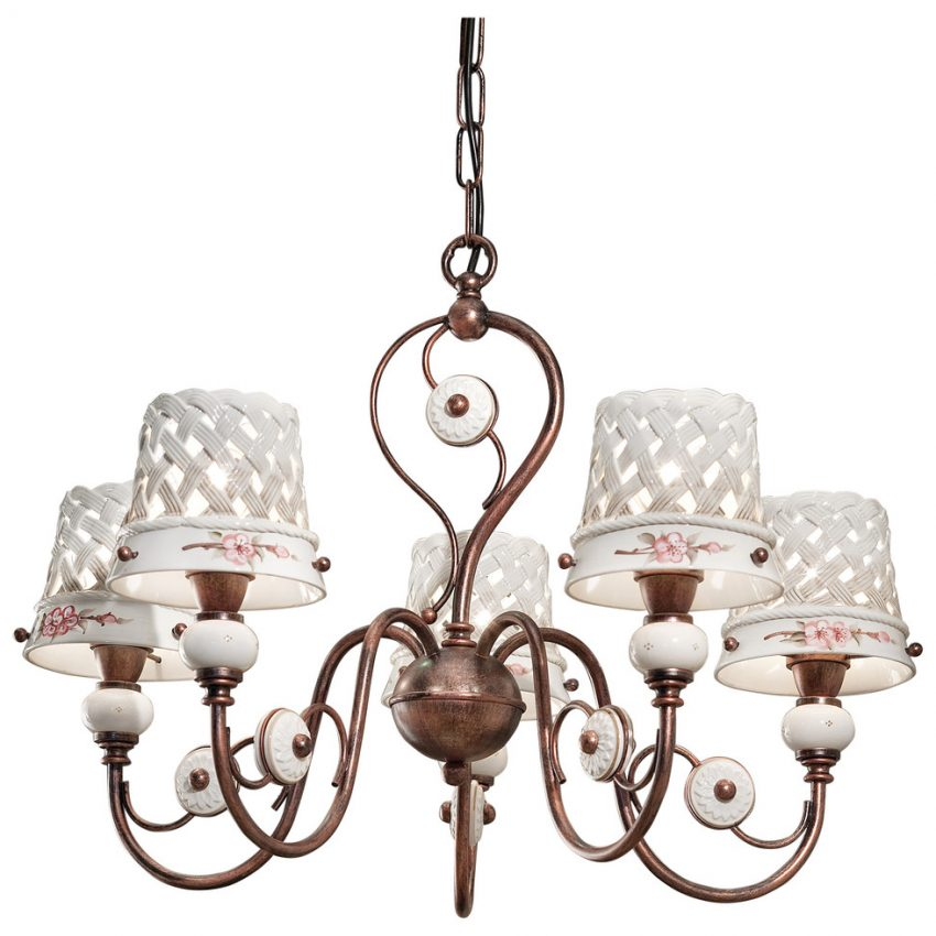 Ceramic and wrought iron chandelier